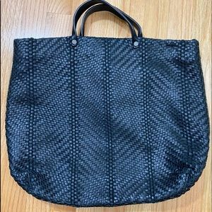 Kooba Large Woven Leather Black Tote